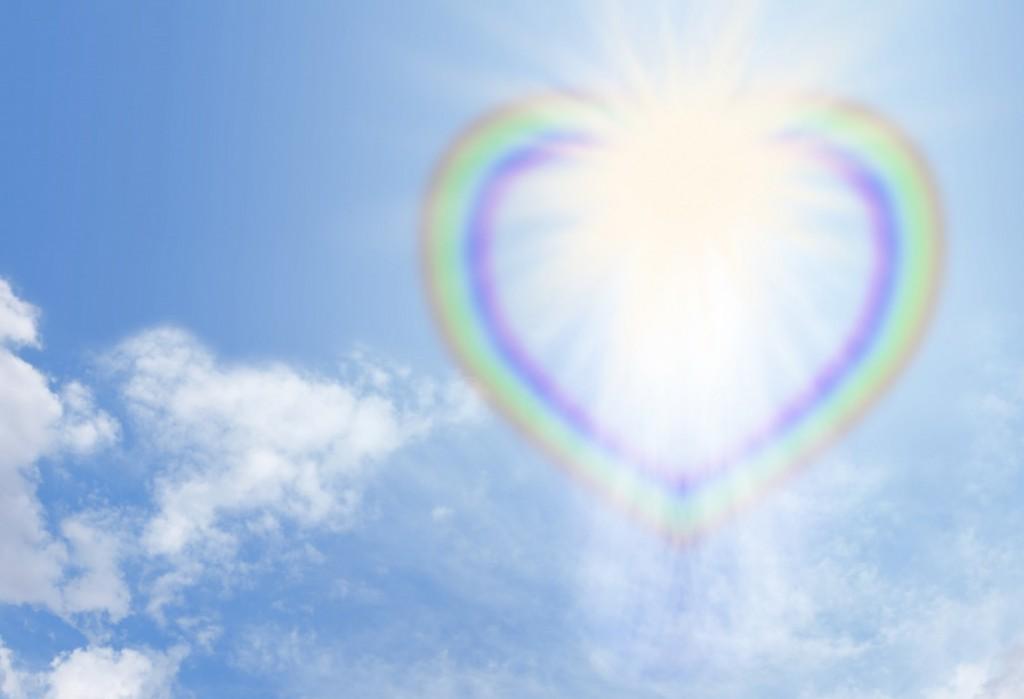 虹色のハートと輝く光