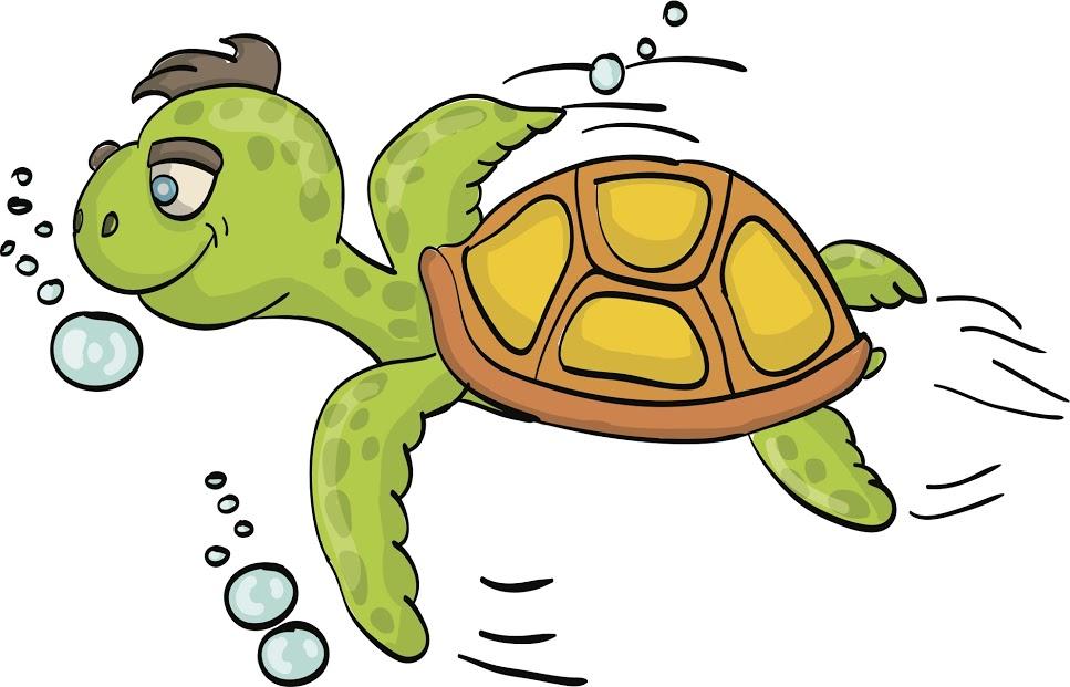 ひたすら泳ぎ続ける亀
